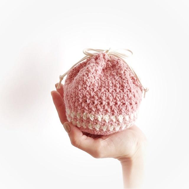手編み雑貨 HanahanD ウール毛糸の巾着袋