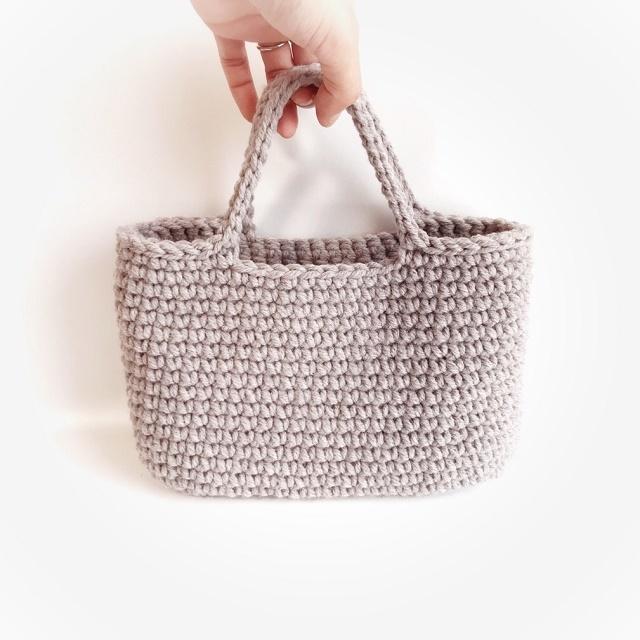 手編み雑貨 HanahanD 冬糸ハンドバッグ かばん バッグイン