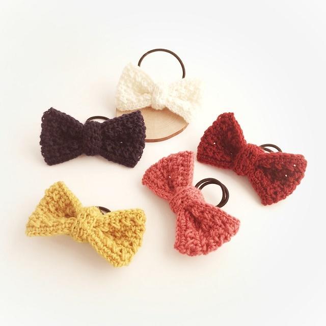 手編み雑貨 HanahanD 大きな毛糸のリボンのヘアゴム