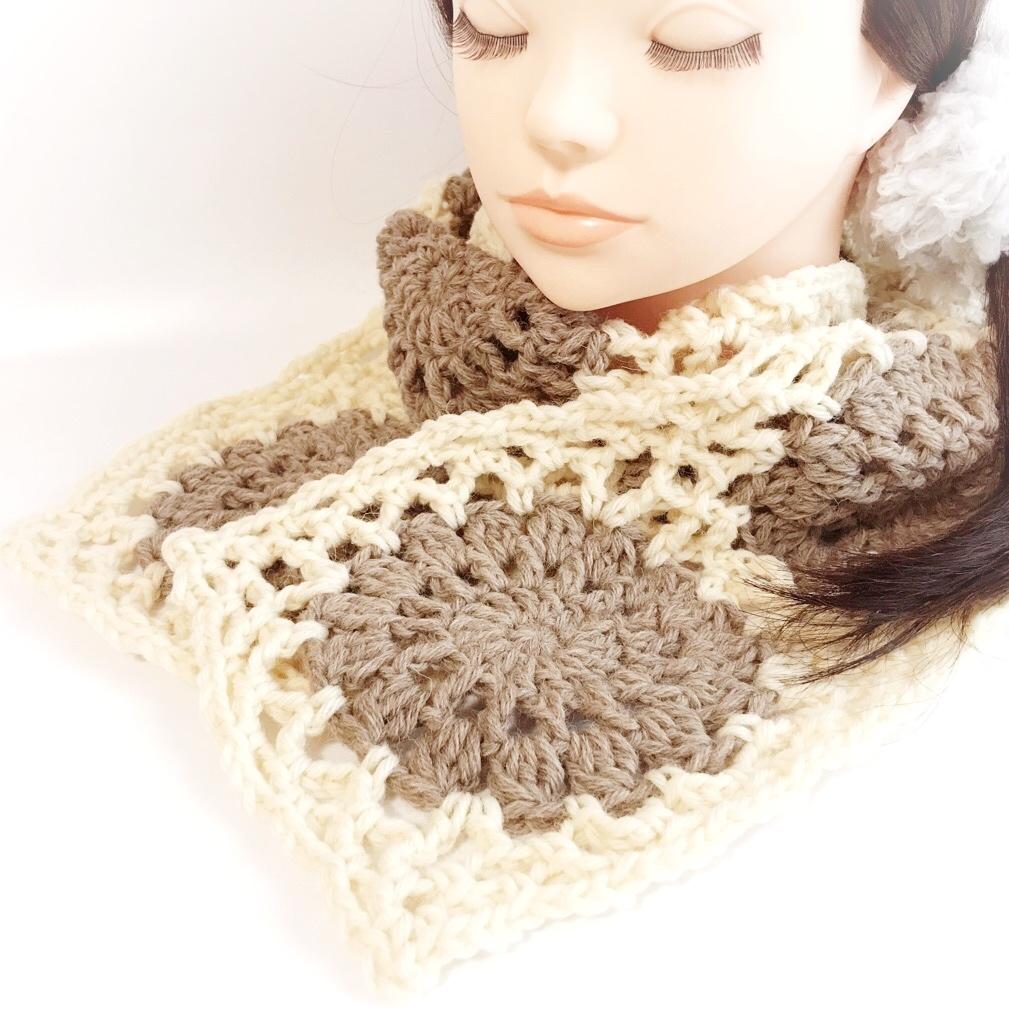 手編み雑貨HanahanD 手編みモチーフ繋ぎのマフラー 冬小物