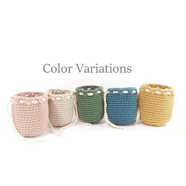 手編み雑貨 HanahanD ウール巾着キャンディーケース