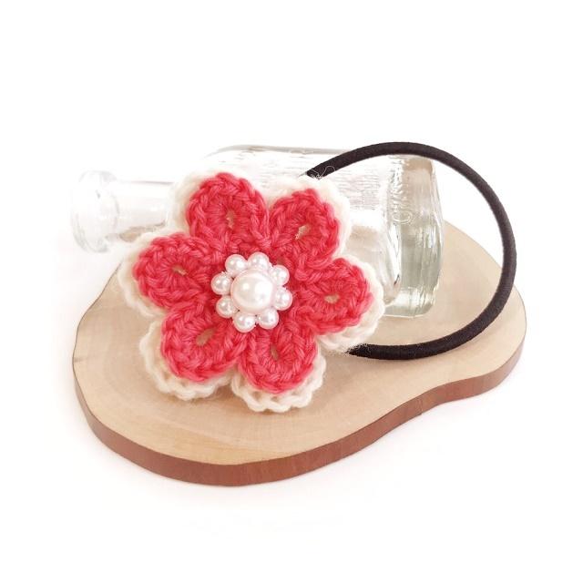 手編み雑貨 HanahanD 花とパールの毛糸ヘアゴム キッズ ポップカラー