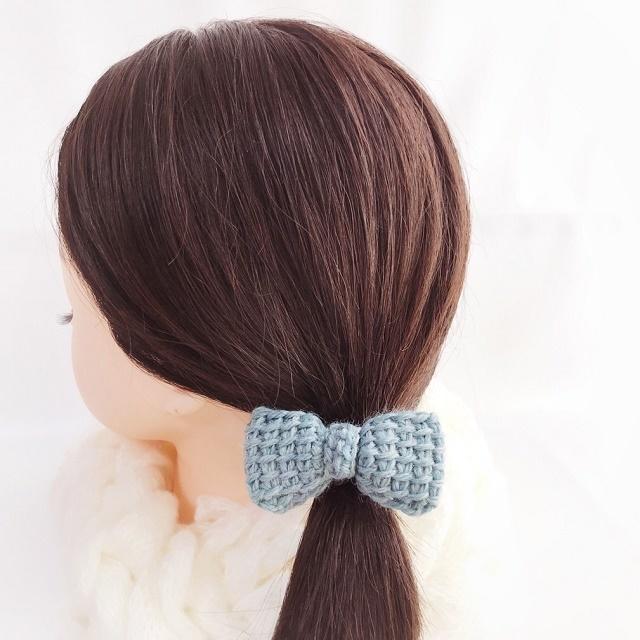 手編み雑貨 HanahanD 冬のヘアアクセ リボンのヘアゴム