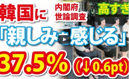 【動画】韓国に「親しみを感じる」37% by 内閣府 どんな層を調査してんの? [嫌韓ちゃんねる ~日本の未来のために~ 記事No18661