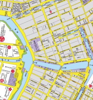 日本橋界隈・江戸明治東京重ね地図より