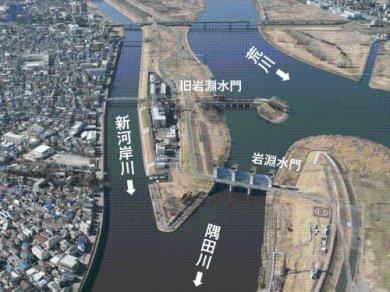 岩淵水門と隅田川