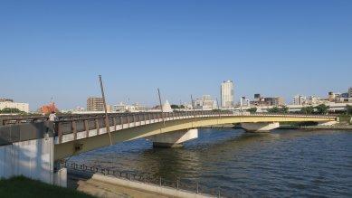 桜橋・3径間連続X形曲線鋼箱桁橋