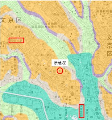 茗荷谷駅~後楽園駅・高低図