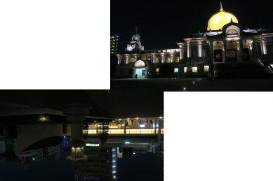 築地本願寺の夜景(合同墓と本堂)