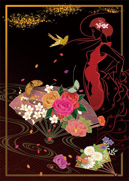 41薔薇扇と蝶
