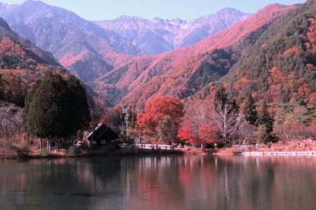宝剣岳・千畳敷カールをバックに池の紅葉cc_1