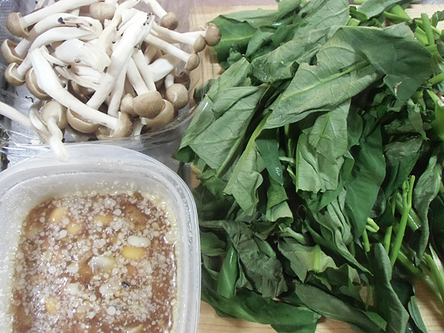 空芯菜と残り物