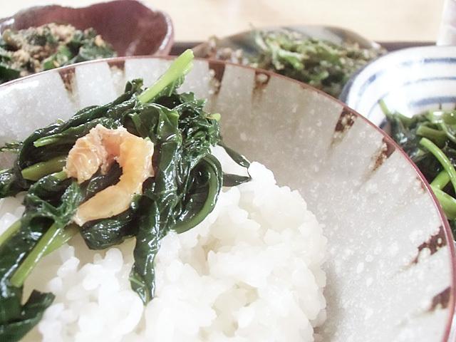 青菜でご飯