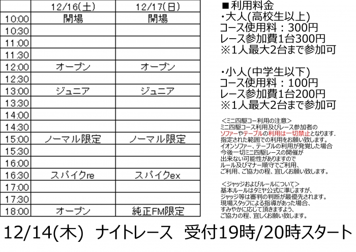 ホビーゾーン与野店ミニ四駆タイムスケジュール