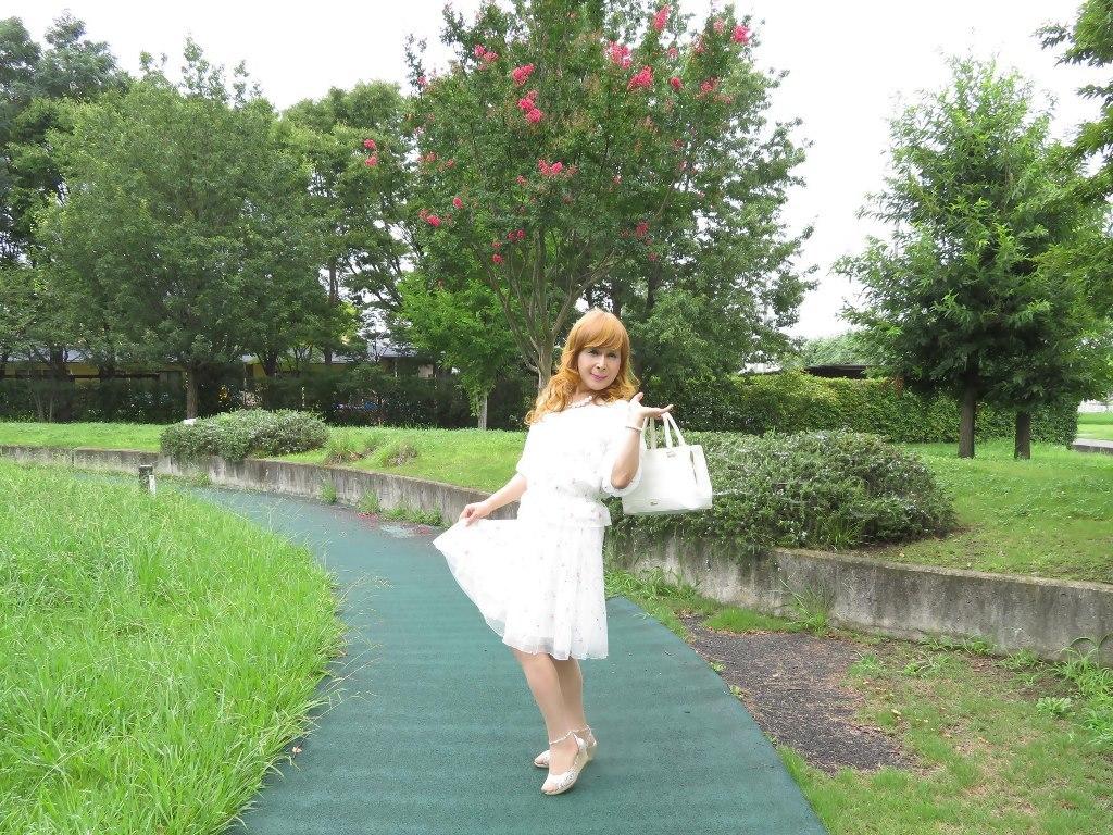 シフォン小花柄ツーピースB(4)