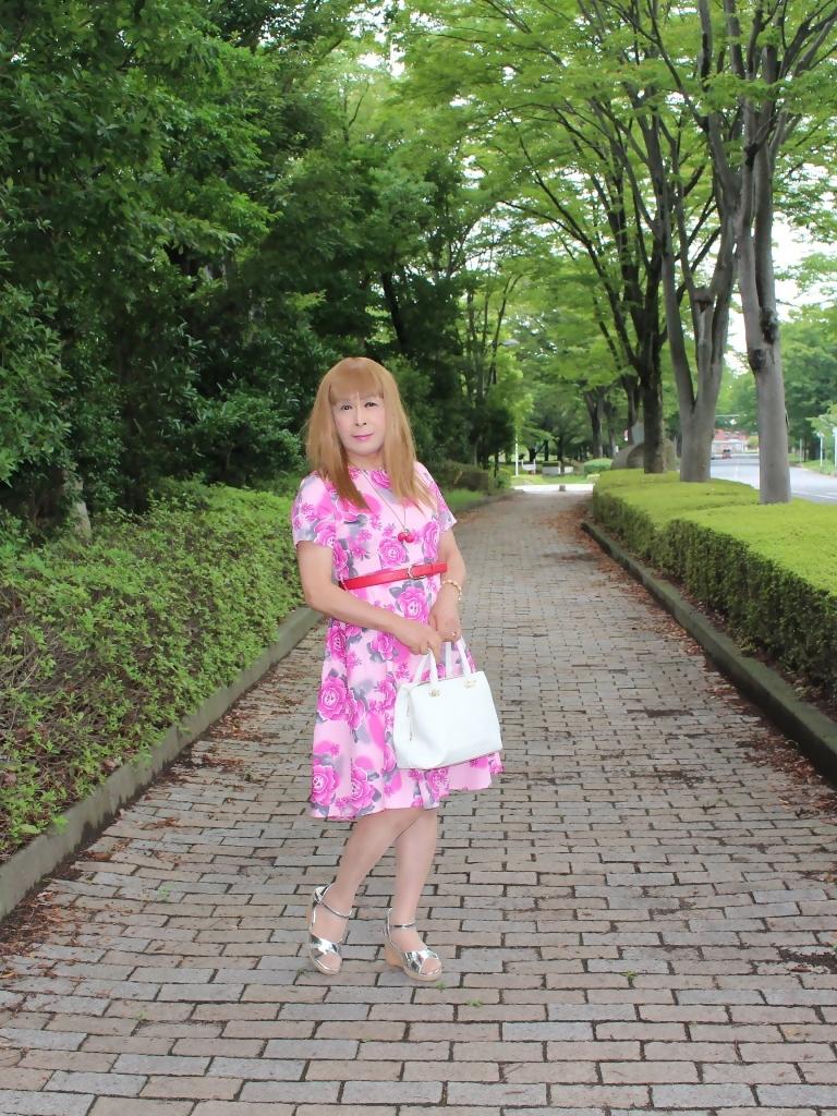 ピンクの薔薇柄ワンピA(2)