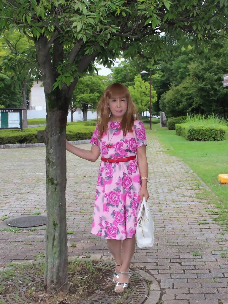 ピンクの薔薇柄ワンピA(4)