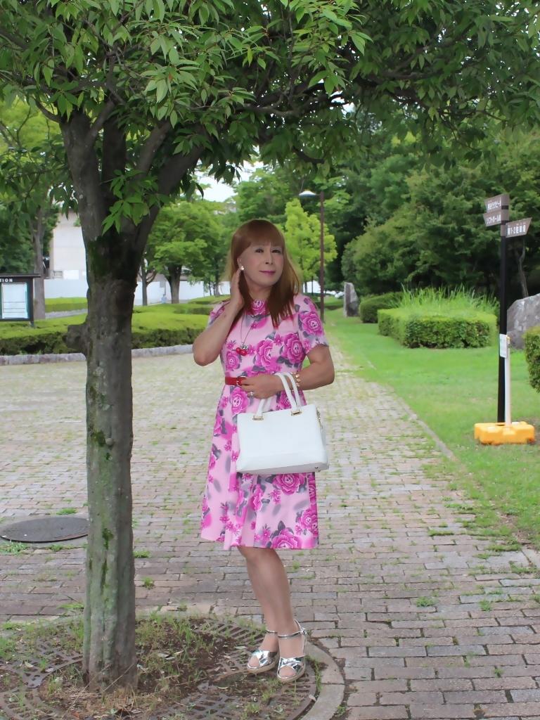 ピンクの薔薇柄ワンピA(5)