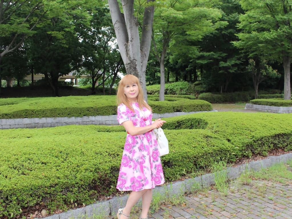 ピンクの薔薇柄ワンピA(7)