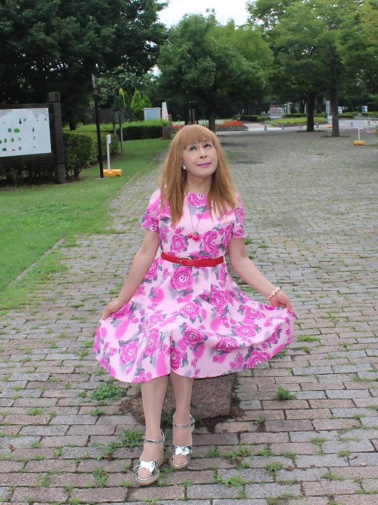 ピンクの薔薇柄ワンピB(5)
