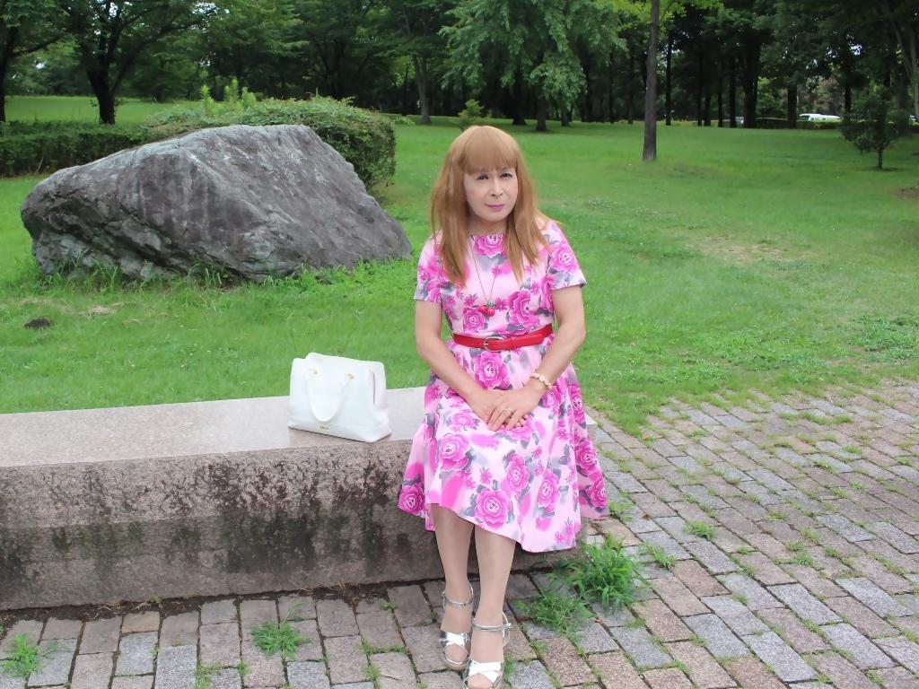 ピンクの薔薇柄ワンピB(6)