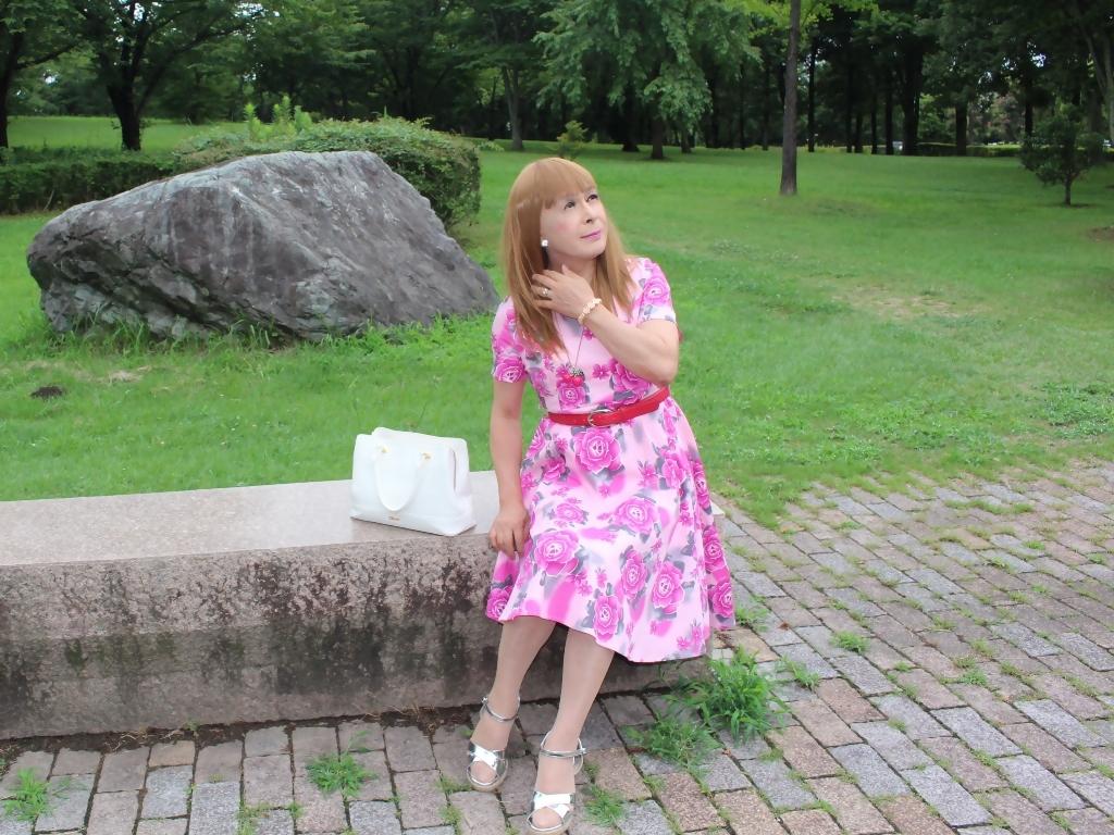 ピンクの薔薇柄ワンピB(7)
