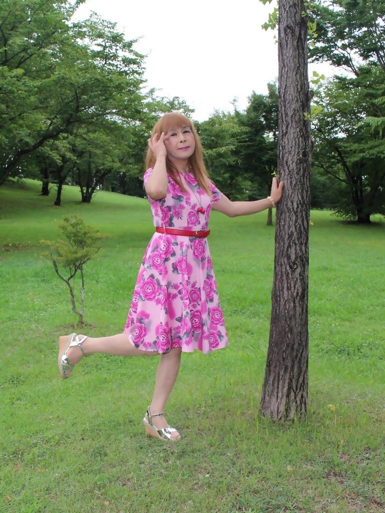 ピンクの薔薇柄ワンピC(1)