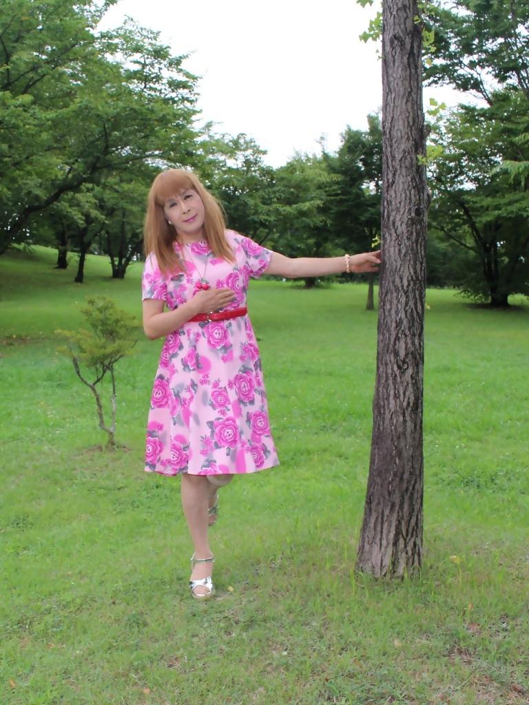 ピンクの薔薇柄ワンピC(3)