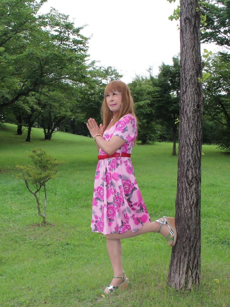 ピンクの薔薇柄ワンピC(4)