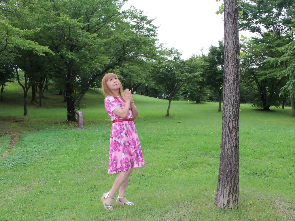 ピンクの薔薇柄ワンピC(5)