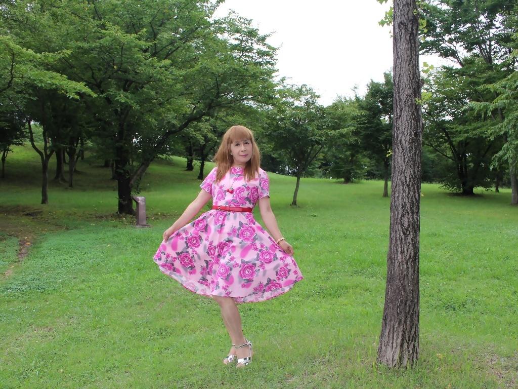 ピンクの薔薇柄ワンピC(6)
