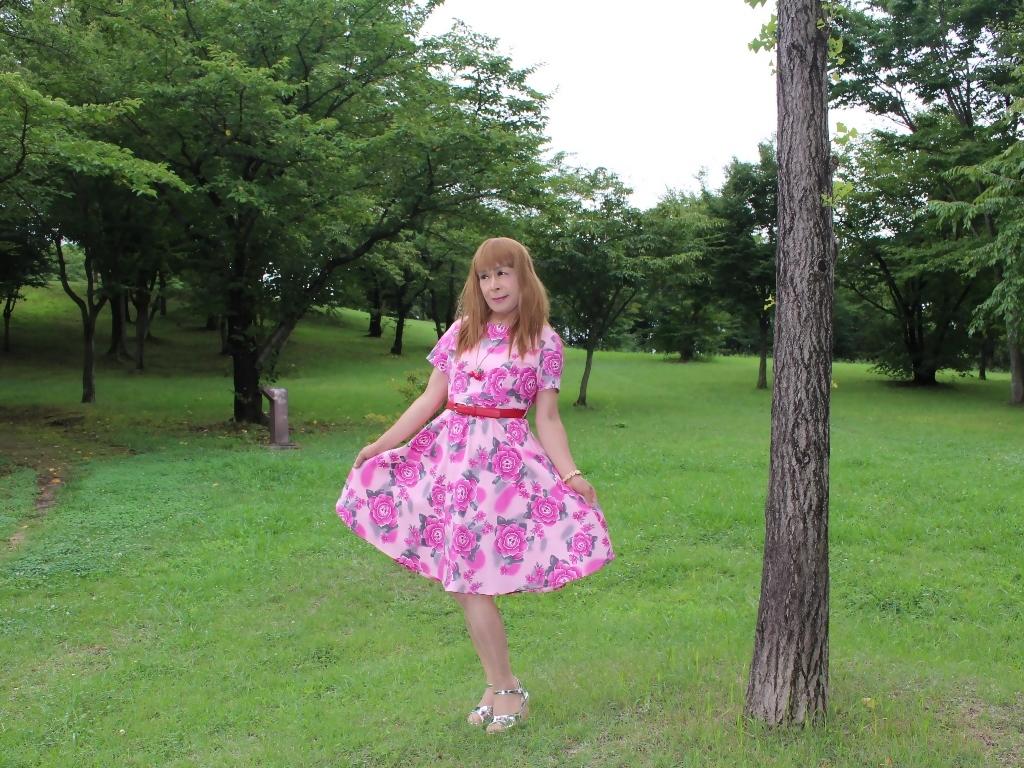 ピンクの薔薇柄ワンピC(7)