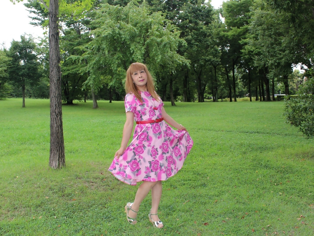 ピンクの薔薇柄ワンピC(9)