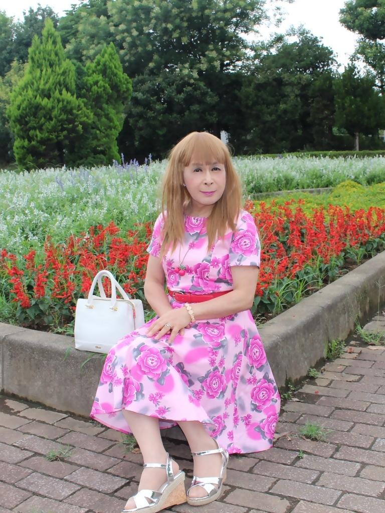 ピンクの薔薇柄ワンピD(2)