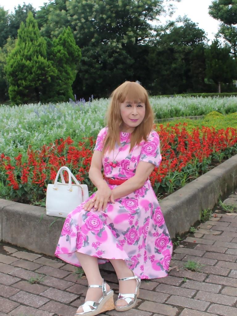 ピンクの薔薇柄ワンピD(3)