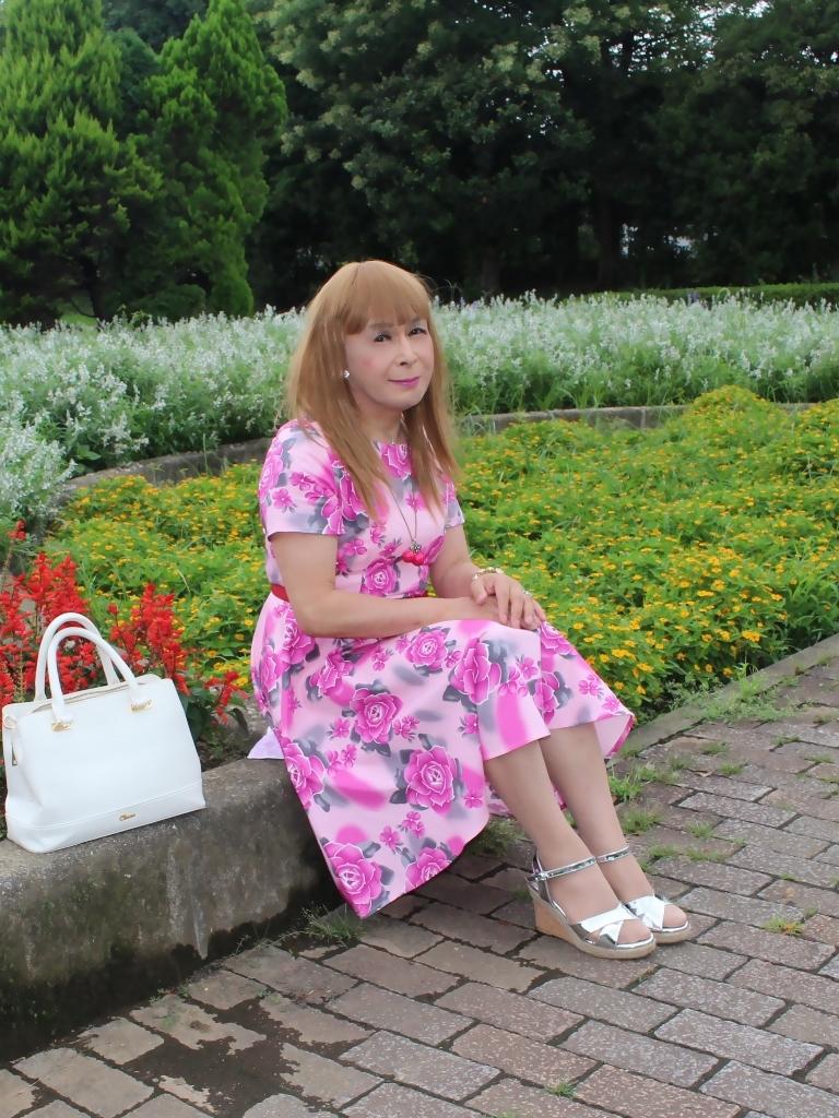 ピンクの薔薇柄ワンピD(4)