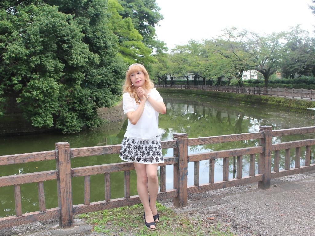 白トップス黒花柄ミニフレアーA(8)