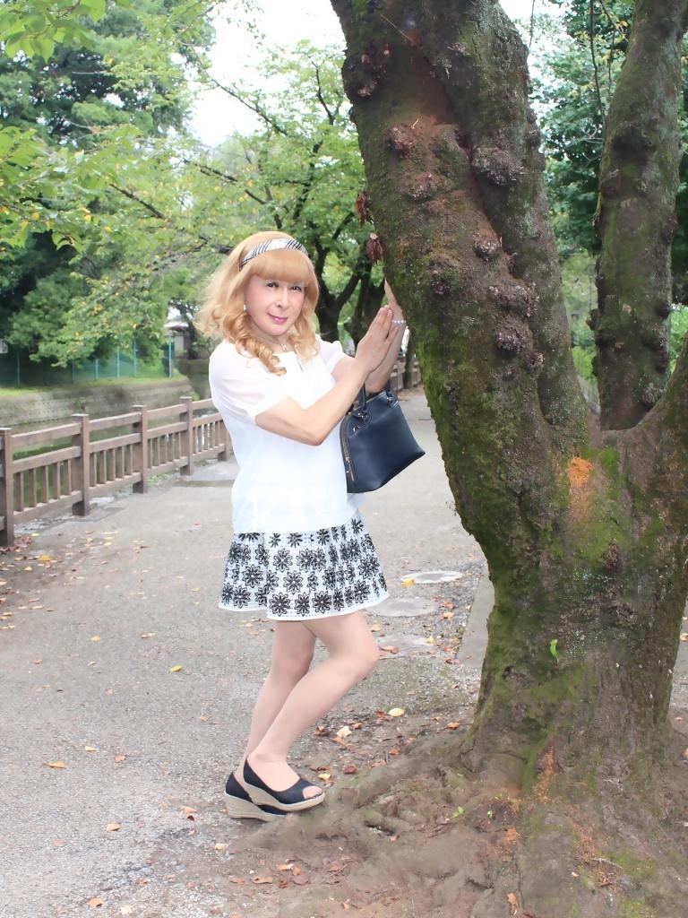 白トップス黒花柄ミニフレアーC(1)