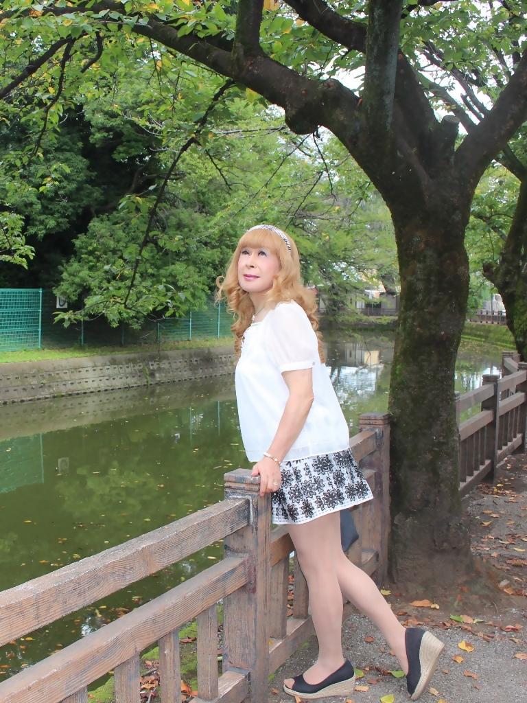 白トップス黒花柄ミニフレアーC(3)