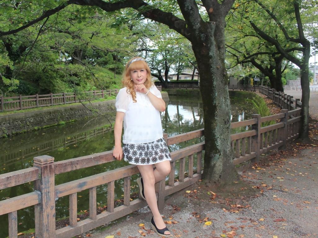 白トップス黒花柄ミニフレアーC(4)