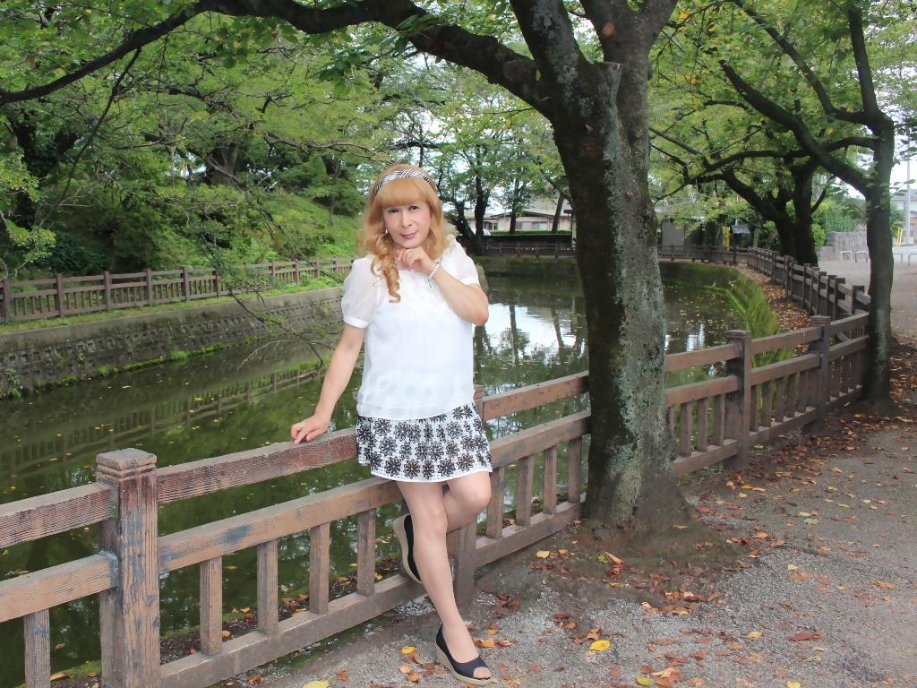 白トップス黒花柄ミニフレアーC(5)
