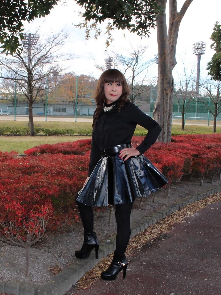 光沢フレアースカートD(5)