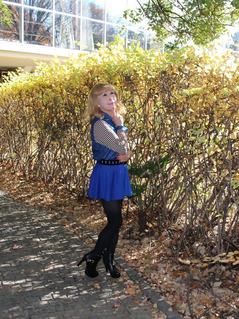 袖ストライプ青フレアミニスカC(1)