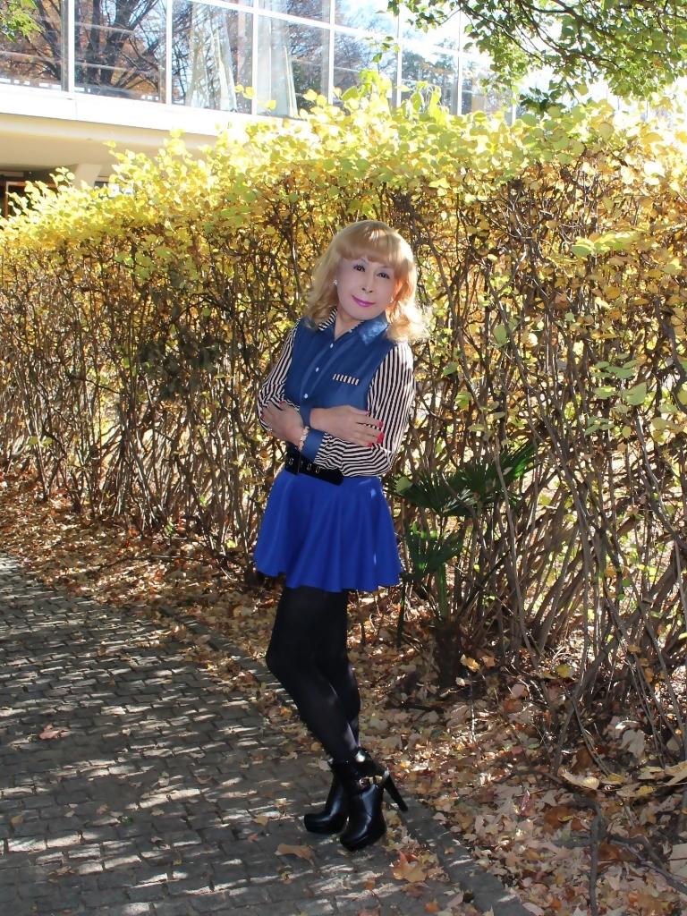 袖ストライプ青フレアミニスカC(2)
