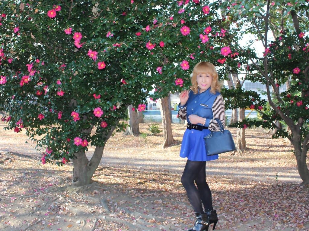 袖ストライプ青フレアミニスカD(4)