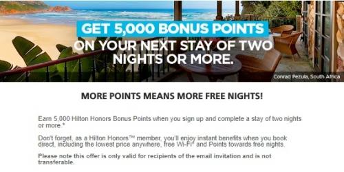 ヒルトンオーナーズ 2泊滞在で5,000ボーナスポイントを獲得(ターゲット)