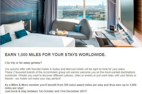 ル・クラブ・アコーホテルのメルキュール&ノボテルでルフトハンザ航空マイル&モアダブルマイルキャンペーン