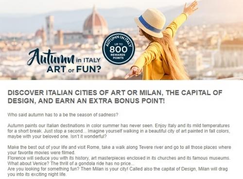 アコーホテル イタリアの滞在を対象に最大800ボーナスポイント