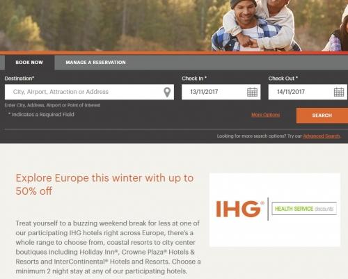 IHGリワードクラブ ヨーロッパを対象としたウィークエンド冬季セール50%OFF