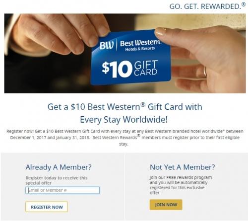ベストウエスタンリワード 1滞在につき$ 10ギフトカード